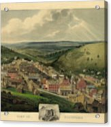 Vintage Pottsville Pennsylvania Etching With Remarque Acrylic Print