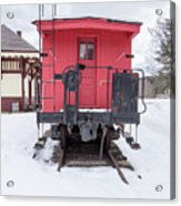 Vintage Red Caboose In The Snow Acrylic Print