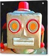Vintage Robot Toy Square Pop Art Acrylic Print