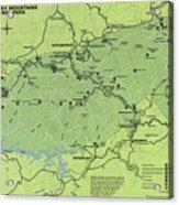 Vintage Smoky Mountains National Park Map Acrylic Print