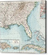 Vintage Southeastern Us And Caribbean Map - 1900 Acrylic Print