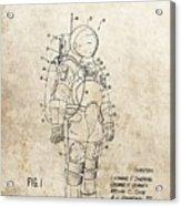 Vintage Space Suit Patent Acrylic Print