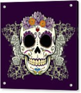 Vintage Sugar Skull And Flowers Acrylic Print