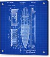 Vintage Surf Board Patent Blue Print 1950 Acrylic Print