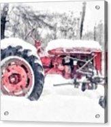 Vintage Tractor Christmas Acrylic Print