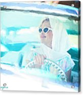 Vintage Val In The Turquoise Vintage Car Acrylic Print