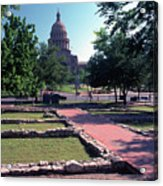 Vintage View Of The Foundation Of The First Texas Capitol That Burned Down In 1836 Acrylic Print