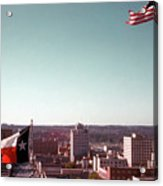 Vintage View Of The Texas And Usa Flags Flying On Top Of Texas State Capitol Acrylic Print