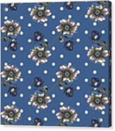Vintage Wallpaper Seamless Rose Flower Pattern On Circles Polka  Acrylic Print