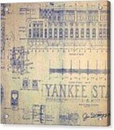 Vintage Yankee Stadium Blueprint Acrylic Print