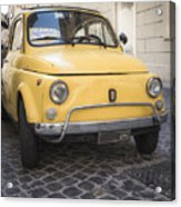 Vintage Yellow Fiat 500 In Rome Acrylic Print