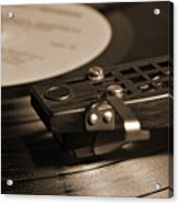Vinyl Record Playing On A Turntable In Sepia Acrylic Print
