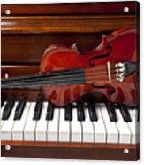 Violin On Piano Acrylic Print