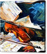 Violin - Palette Knife Oil Painting On Canvas By Leonid Afremov Acrylic Print