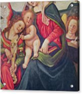 Virgin And Child And Angel Musicians  Acrylic Print