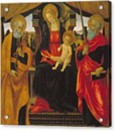 Virgin And Child Between Saint Peter And Saint Paul Acrylic Print