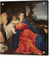Virgin And Infant With Saint John The Baptist And Donor Acrylic Print