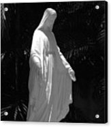 Virgin Mary In Black And White Acrylic Print