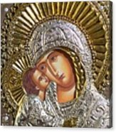 Virgin Mary With Child Jesus Greek Icon Acrylic Print by Jake Hartz