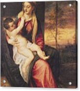 Virgin With Child At Sunset Acrylic Print by Titian