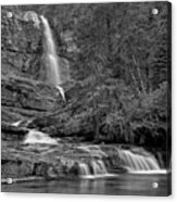 Virgina Falls In The Pool - Black And White Acrylic Print