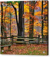Virginia Country Roads - A Seat With A View - Autumn Colorfest No. 1 Near Mabry Mill - Floyd County Acrylic Print
