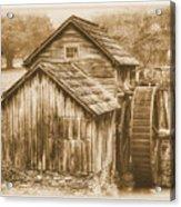 Virginia Country Roads - Mabry Mill No. 23 Sepia - Blue Ridge Parkway, Floyd County Acrylic Print