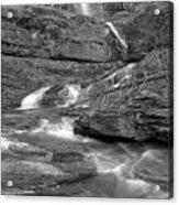 Virginia Falls Glacier Cascades - Black And White Acrylic Print