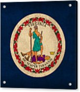 Virginia State Flag Art On Worn Canvas Edition 2 Acrylic Print
