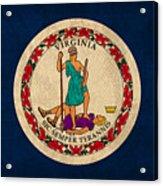 Virginia State Flag Art On Worn Canvas Edition 3 Acrylic Print