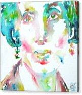 Virginia Woolf Watercolor Portrait Acrylic Print