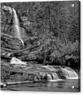 Virgnia Falls Pool - Black And White Acrylic Print