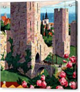 Visby Vintage Travel Poster Restored Acrylic Print