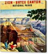 Visit Grand Canyon - Vintgelized Acrylic Print
