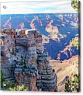 Visitors Dwarfed By Grand Canyon Vista Acrylic Print