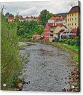 Vltava River As It Runs Slowly Through Cesky Krumlov In The Czech Republic Acrylic Print