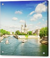 Notre Dame And River Seine Acrylic Print