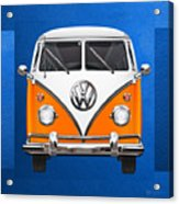 Volkswagen Type - Orange And White Volkswagen T 1 Samba Bus Over Blue Canvas Acrylic Print by Serge Averbukh