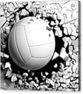 Volleyball Ball Breaking Forcibly Through A White Wall. 3d Illustration. Acrylic Print