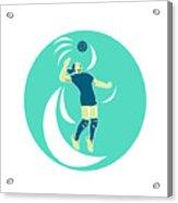 Volleyball Player Spiking High Circle Retro Acrylic Print