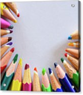 Vortex Of Colored Pencils On The Sheet Of Paper Acrylic Print