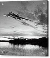 Vulcan Low Over A Sunset Lake Sunset Lake Bw Acrylic Print