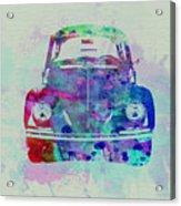 Vw Beetle Watercolor 2 Acrylic Print by Naxart Studio
