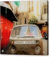 Vw Bus Parked In Basta Beirut  Acrylic Print
