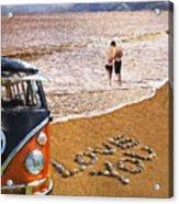 Vw Love On Beach Acrylic Print
