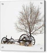 Wagon In The Snow Acrylic Print