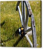 Wagon Wheel In Grass Acrylic Print