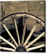 Wagon Wheel - Old West Trail N832 Sepia Acrylic Print