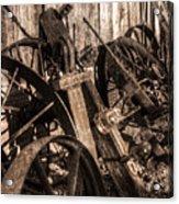 Wagons Whoa Bw Acrylic Print