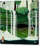 Wahines In Waterfall Acrylic Print